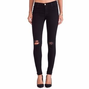 J Brand Super Skinny Blackout Ripped Jeans